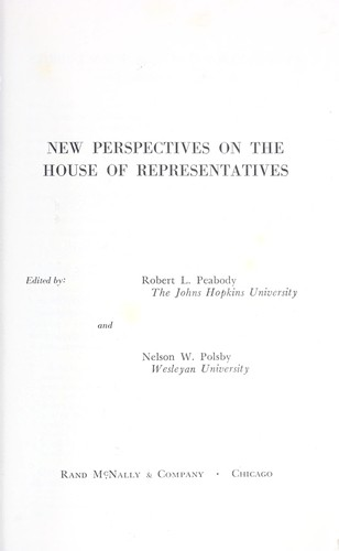 New perspectives on the House of Representatives.