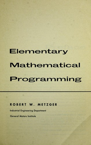 Download Elementary mathematical programming.