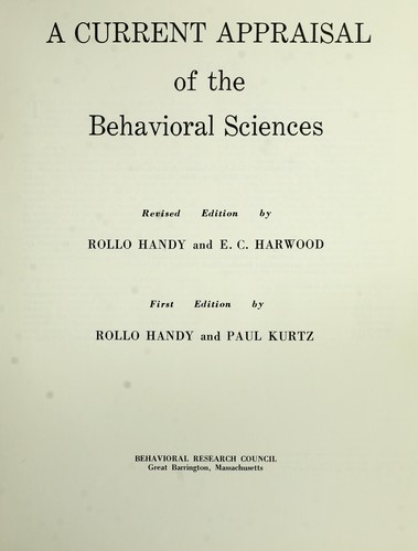 A current appraisal of the behavioral sciences