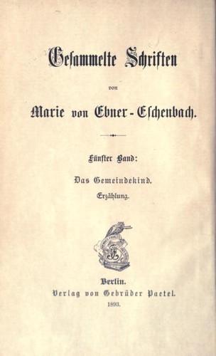 Gesammelte Schriften/5 – Das Gemeindekind (Erzählung)