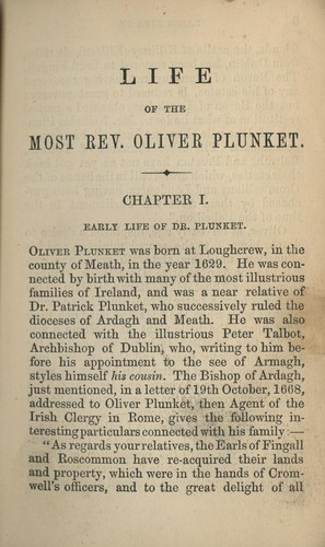 The life of the Most Rev. Oliver Plunket.
