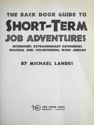 Download The back door guide to short-term job adventures