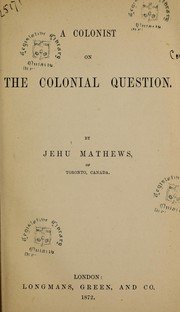 A colonist on the colonial question PDF