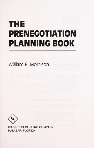 The Prenegotiation Planning Book