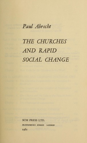 The churches and rapid social change.
