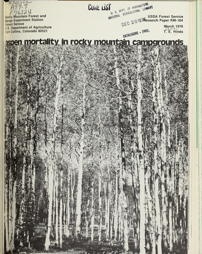 Download Aspen mortality in Rocky Mountain campgrounds