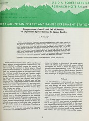 Temperatures, growth, and fall of needles on Engelmann spruce infested by spruce beetles PDF
