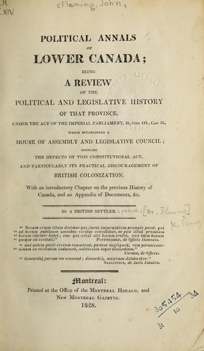 Download Political annals of Lower Canada