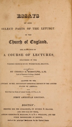 Essays on some select parts of the liturgy of the Church of England