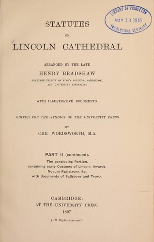 Download Statutes of Lincoln Cathedral