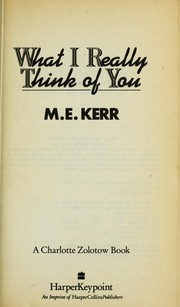 What I really think of you PDF
