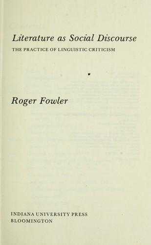 Download Literature as social discourse
