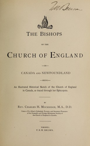 Download The bishops of the Church of England in Canada and Newfoundland