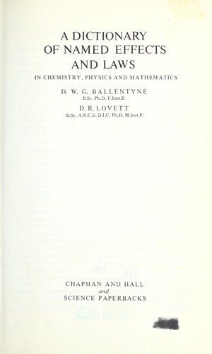 Download A dictionary of named effects and laws in chemistry, physics and mathematics