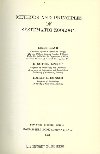Download Methods and principles of systematic zoology
