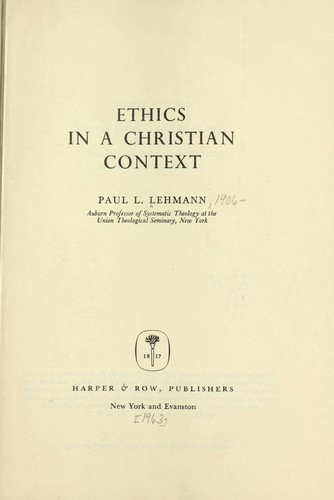 Download Ethics in a Christian context.