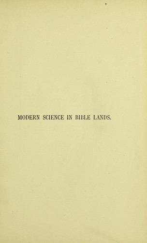 Modern science in Bible lands.