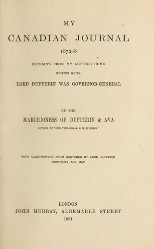 My Canadian journal, 1872-8