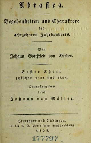 Johann Gottfried von Herder's sämmtliche werke …