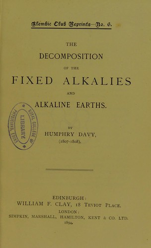 The decomposition of the fixed alkalies and alkaline earths.