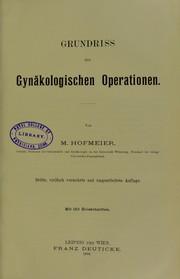 Grundriss der gyn©Þkologischen Operationen