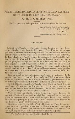 Précis de l'histoire de la seigneurie, de la paroisse, et du comté de Berthier, P. Q., (Canada)