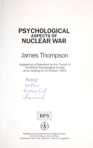 Download Psychological aspects of nuclear war