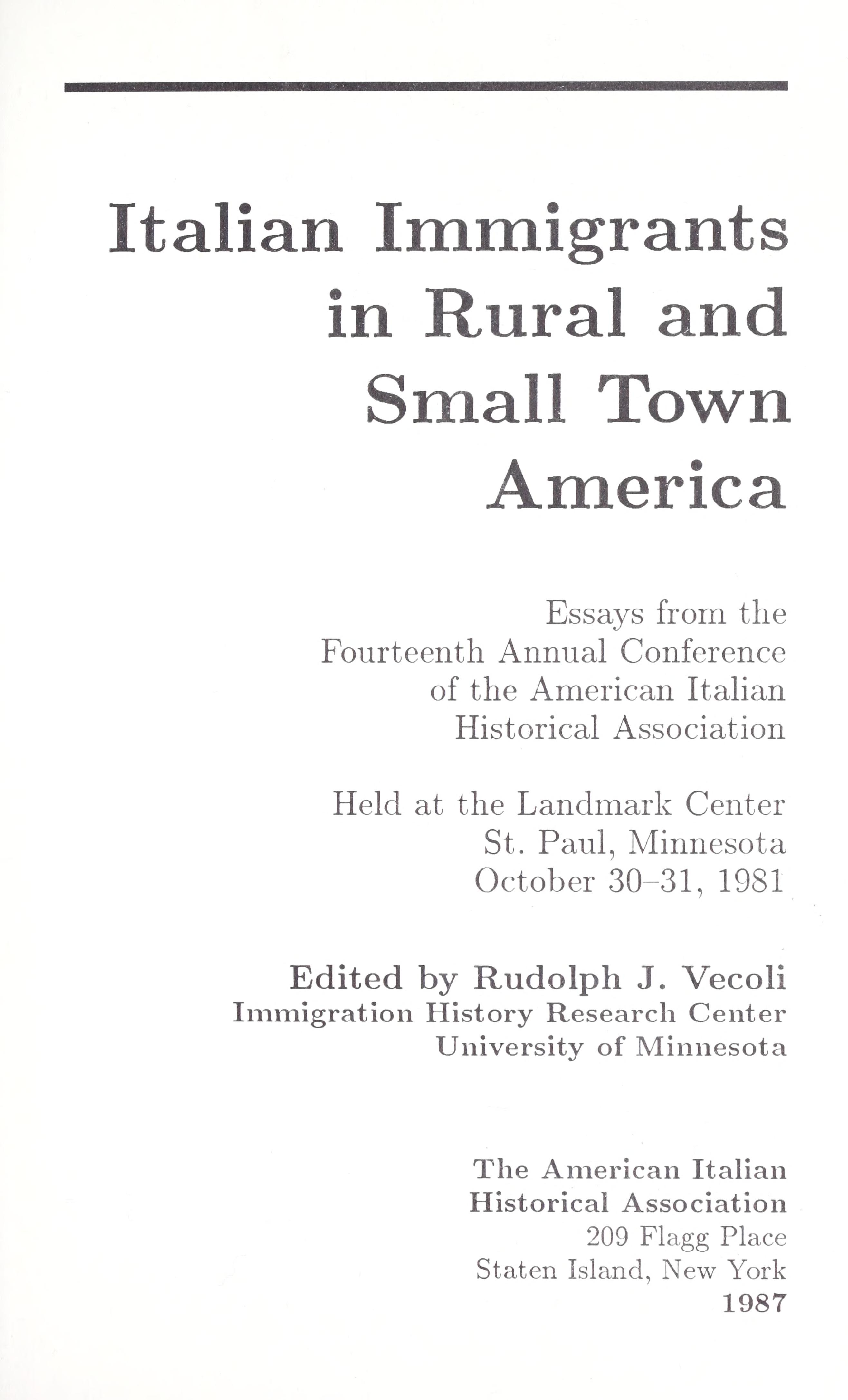 Italian immigrants in rural and small town America Download