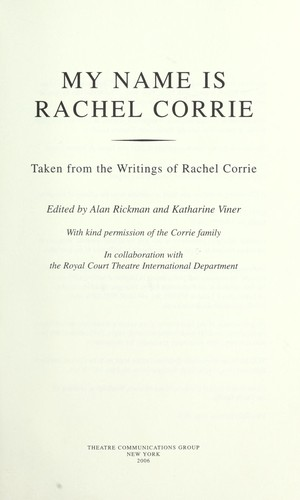 Download My name is Rachel Corrie