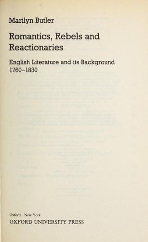 Romantics, rebels and reactionaries