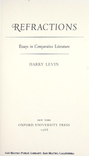 Refractions; essays in comparative literature PDF