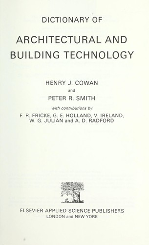 Download Dictionary of architectural and building technology