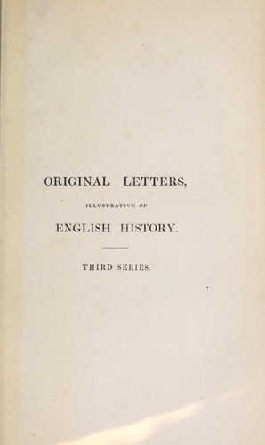Original letters illustrative of English history