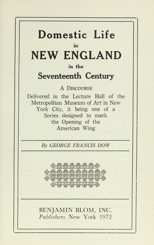 Download Domestic life in New England in the seventeenth century