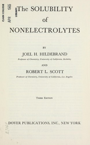 Download The solubility of nonelectrolytes.