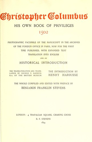 Download Christopher Columbus, his own book of privileges, 1502