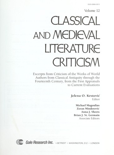 Download Classical and Medieval Literature Criticism