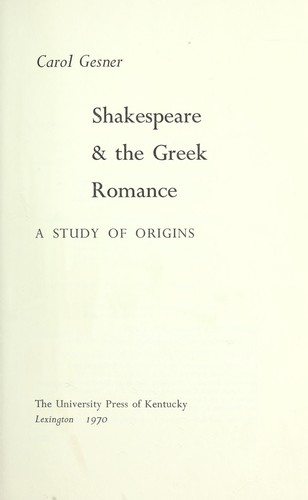 Download Shakespeare & the Greek romance