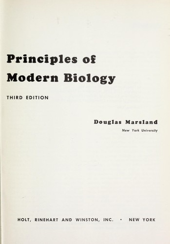 Principles of modern biology.