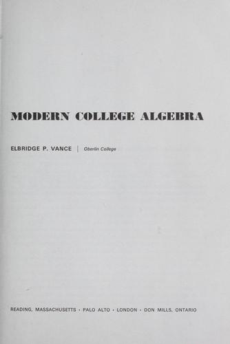 Download Modern college algebra.