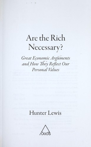 Are the rich necessary?