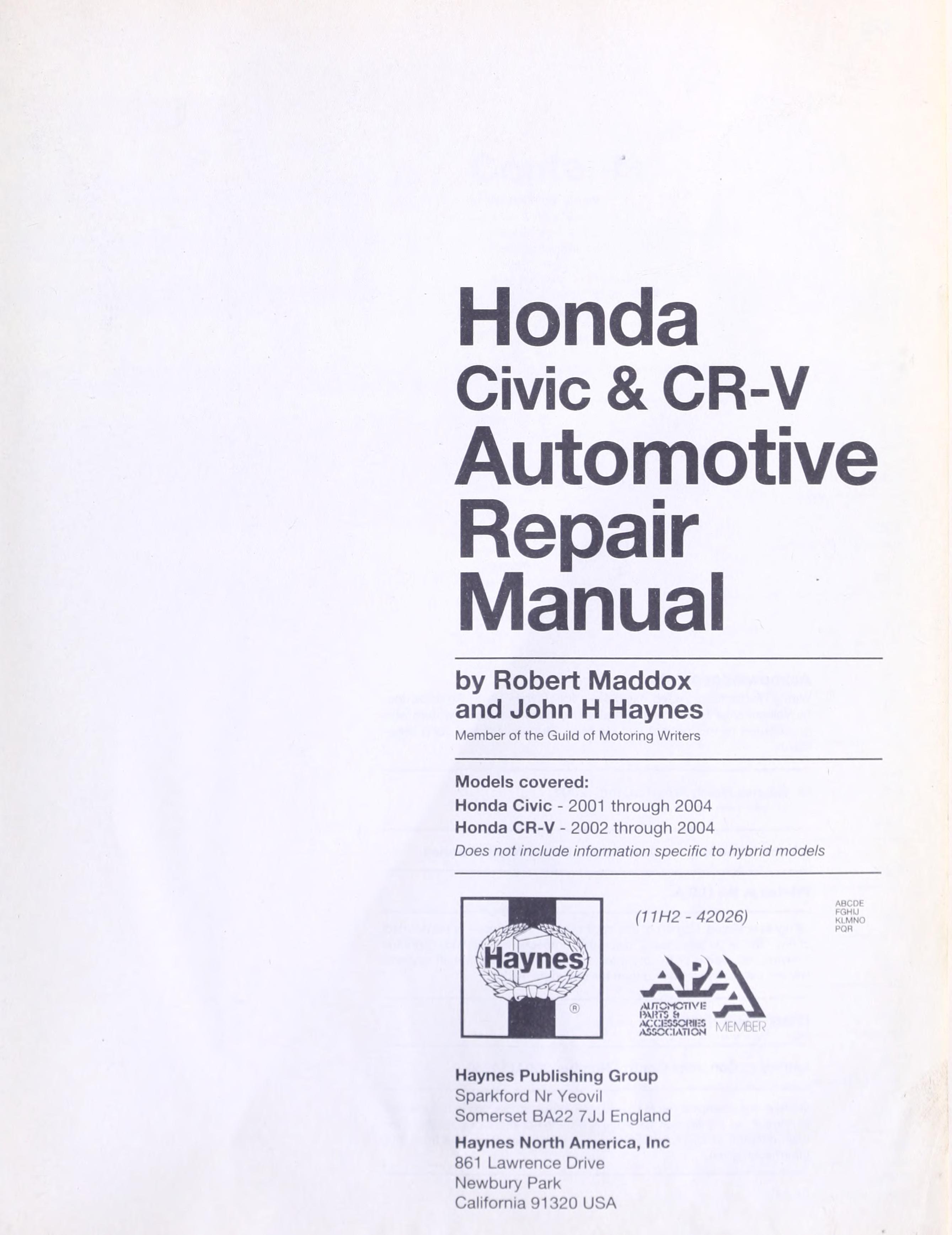 eBook Honda Civic & CRV-V automotive repair manual download | online |  audio id:mzcaa34