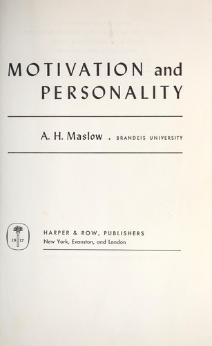 Motivation and personality. —