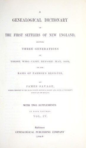 Download A genealogical dictionary of the first settlers of New England