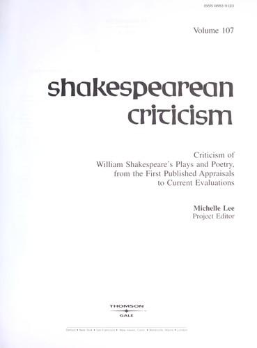 Download Shakespearean Criticism (Shakespearean Criticism (Gale Res))
