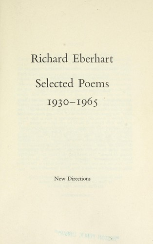 Selected poems, 1930-1965.