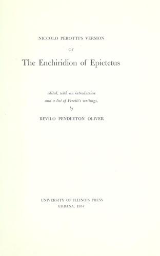 Download Niccolò Perotti's version of the Enchiridion of Epictetus