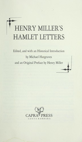 Download Henry Miller's Hamlet letters