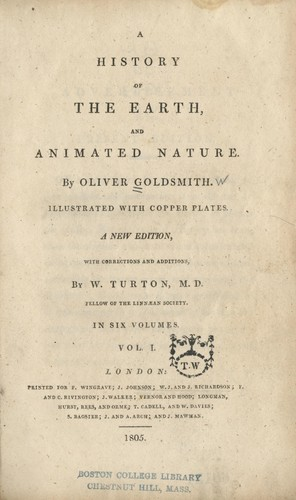 A history of the earth, and animated nature.