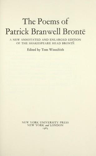 The poems of Patrick Branwell Brontë